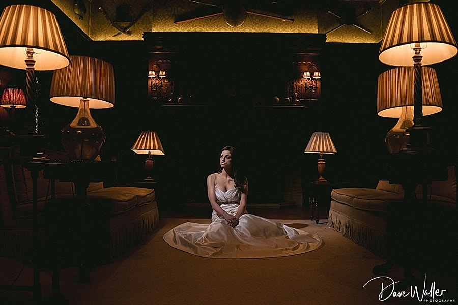 interior shot of a bride on a wedding day at Carlton Towers