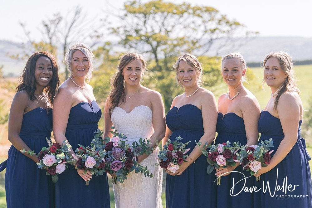 a group photo of a bride and her bridesmaids from a Leeds wedding