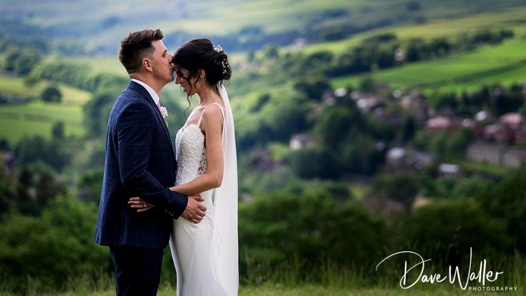 bride and groom on their wedding day at Holmfirth Vineyard