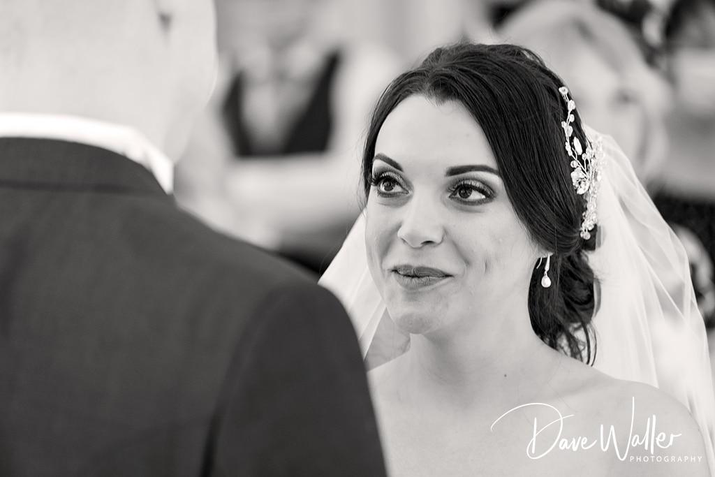 bride and groom at Astley Bank hotel