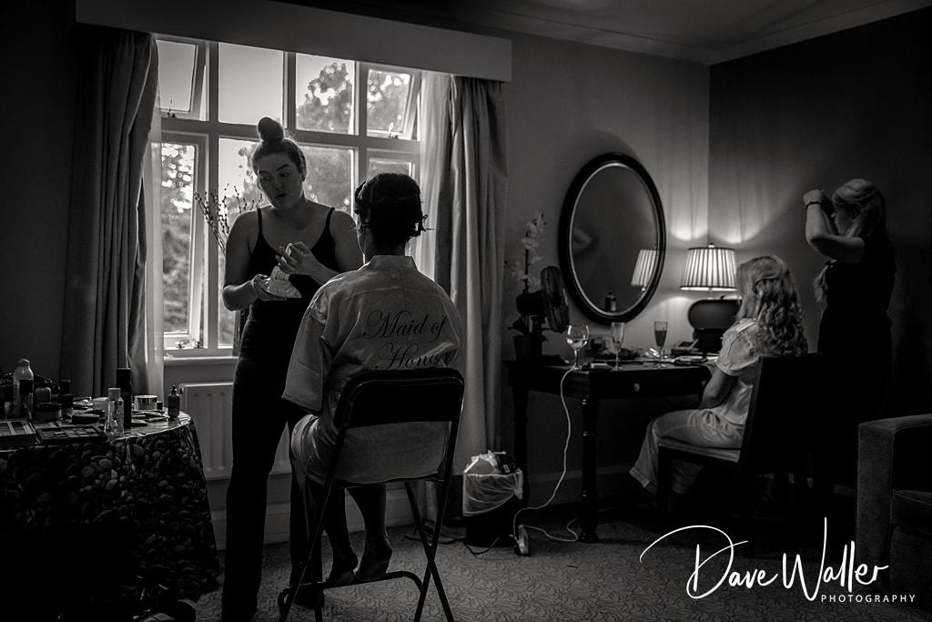 bride prep at Hollins Hall Hotel